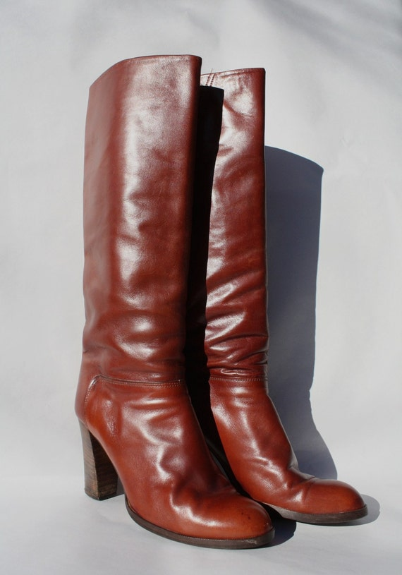 Vintage Knee High Bourbon Brown Leather High Heel Boots Size 7