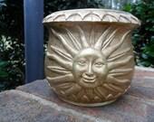 VTG Gold Sunburst Terracotta Planter Garden Nature Retro Mod Country