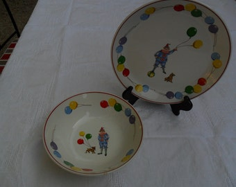 Happy Clown Childs' plate and bowl