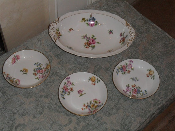 Vintage Limoges serving bowl with three small bowls