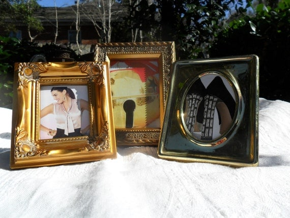 VTG Set of Three Brass and Faux Brass Picture Frames Traditional Home Decor Urban Country