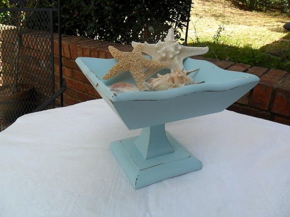 Hand Distressed Aqua Wooden Pedestal Dish Shabby Chic Beach Cottage Romantic Country