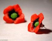 Red Poppies Stud Earrings - Nature garden lover gift