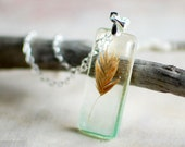 Resin Necklace preserved leaf Real Coastal Grass - Nature lover gift, gift for a woman, gift under 35