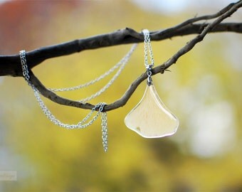 Pressed leaf Statement Necklace Ginkgo Leaf necklace Autumn jewelry woodland style resin jewelry gift for a woman, gift under 40, wholesale
