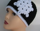 Ladies Snowflake Beanie Crochet Pattern with 6 sizes included PDF 046 Permission to Sell Finished Hat
