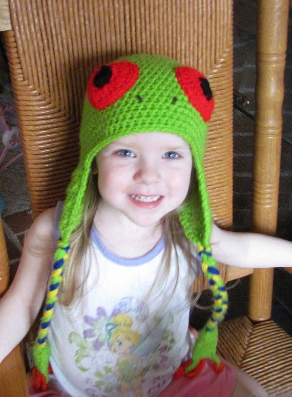 Red Eyed Tree Frog Earflap Hat Crochet Pattern 6 sizes included PDF 122