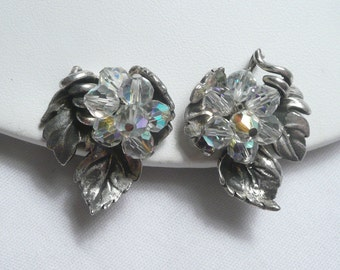 VIntage Vendome AB Crystal Grape Cluster Clip Earrings on Antiqued Silvertone Leaf