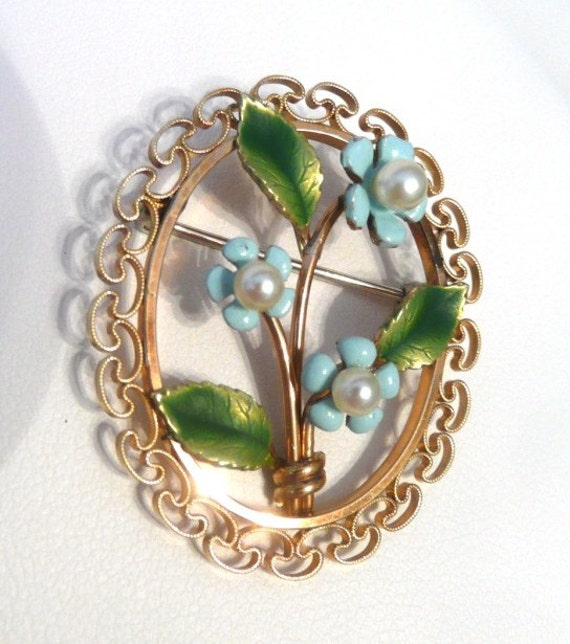 Krementz Flower Pin, Enameled Forget-Me-Not with Pearl Center