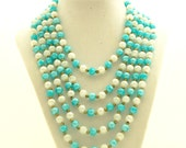 Vintage 1960s Necklace Mad Men 5 Strand Frosted Aqua White