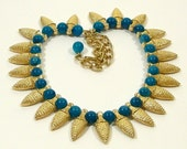 Vintage Egyptian Revival Necklace Gold Turquoise Choker