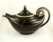 Vintage Aladdins Lamp Tea Pot 1950s Hull Black Gold Genie Magic