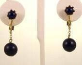 Vintage 1960s Earrings Drop Dangle Navy Blue Balls Clip Ons