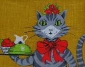 Vintage Cat Mom Towel Linen 1960s New Parisian Prints