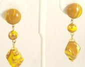 Vintage 60s Glass Earrings Faux Tiger Eye Drop Clip Ons