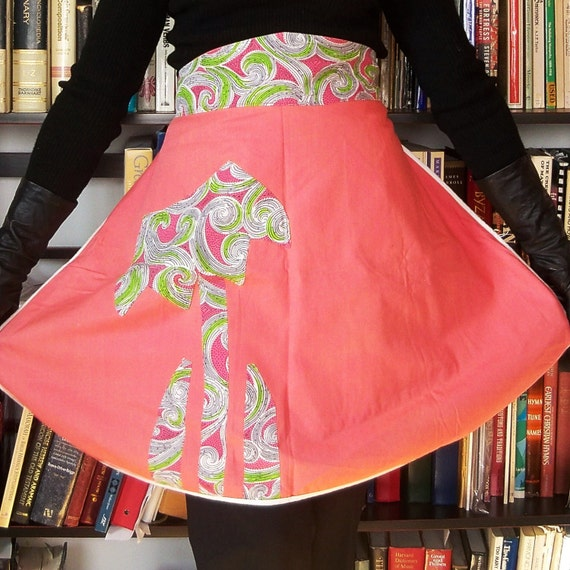 Vintage 1960s Apron 2 in 1 Paisley Coral Pink Lime Green
