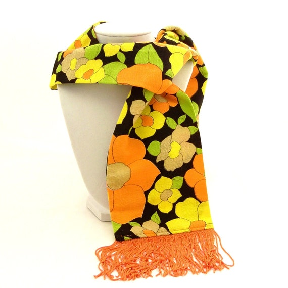Vintage 1960s Scarf  Mod Flower Power Fringe Lime Green Orange