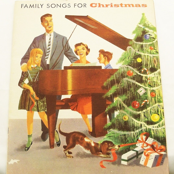 Vintage Mid Century Christmas Songbook Carols Stunning Graphics Family Songs for Christmas