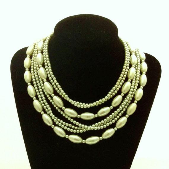 Vintage  Mad Men Necklace Multi Strand Celadon Pale Green Pearl Necklace Japan