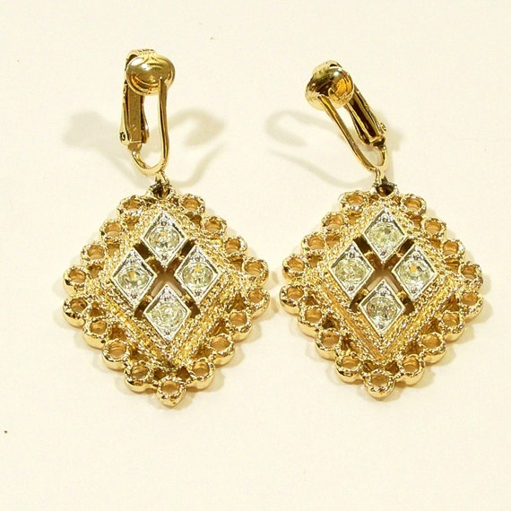 Vintage 1960s Earrings Sarah Coventry Diamond Rhinestone Middle Eastern Clip Ons