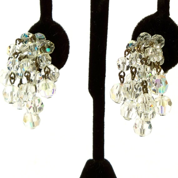 Vintage 1960s Earrings Waterfall Glass Iridescent Beads Clip Ons
