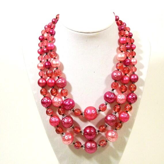 Vintage Mad Men Necklace 1950s Glass Bead Necklace Plum Raspberry Pink 3 Strands Japan