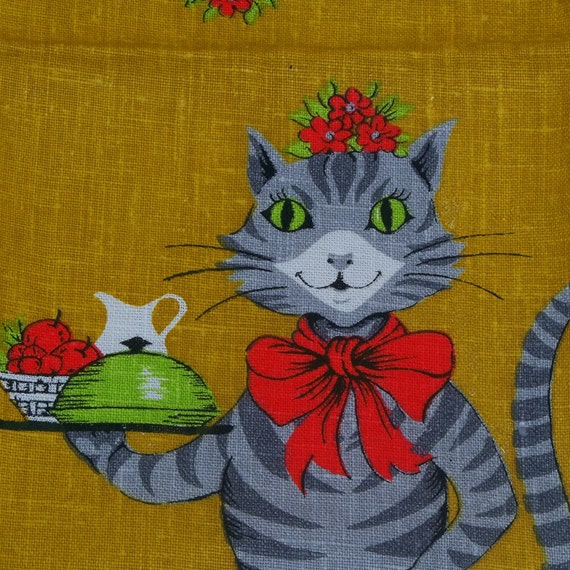 Vintage Cat Mom Towel Linen 1960s New Parisian Prints