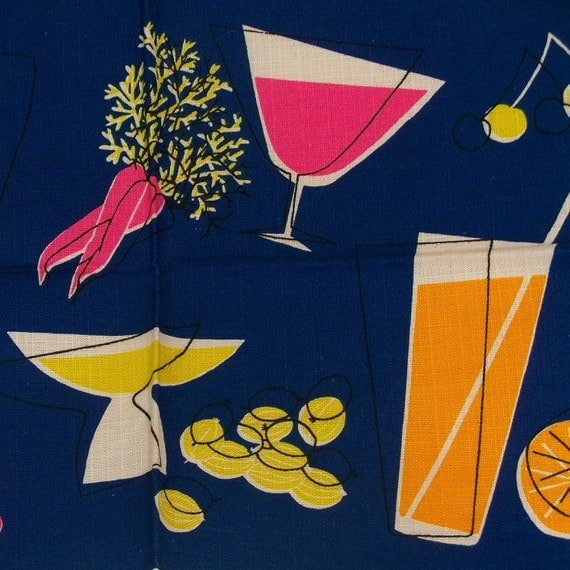 Vintage Mad Men Placement Navy 1960s Cocktails Martini Glasses Fruit