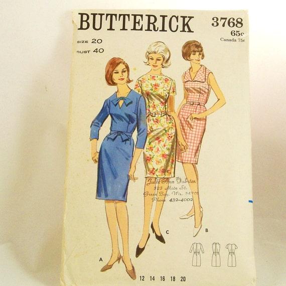 Vintage 1960s Dress Pattern  Butterick 3768 Plus Size 20 Bust 40