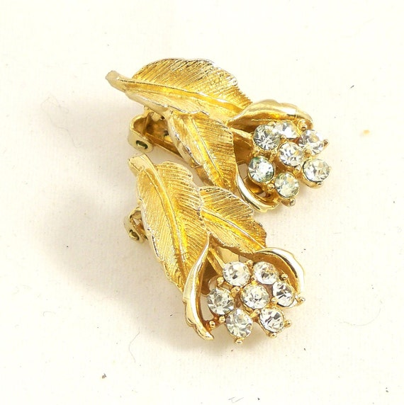Vintage 60s Earrings Rhinestone Coro Gold Bouquet Clip Ons