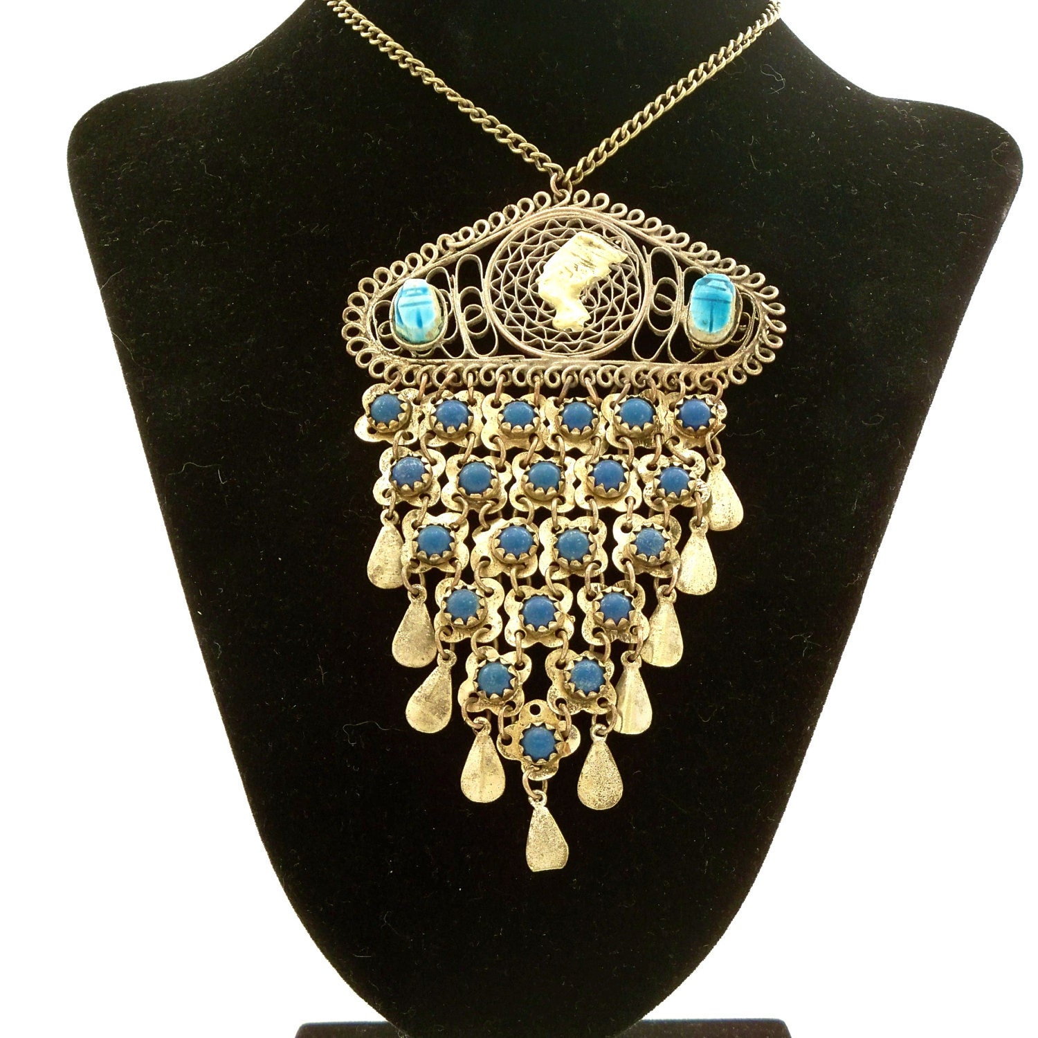 Vintage Egyptian Necklace Egyptian Revival Pendant Middle