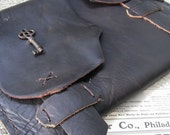 Apocalypse Case - artist / ipad case - steampunk handmade rough leather sleeve with antique key. Great guy gift.