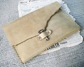 Awesome Leather Folio/Case - for Ipad, artist sketchbook, etc.  -  steampunk handmade gadget sleeve made from khaki leather and antique skeleton key. A unique gift idea.
