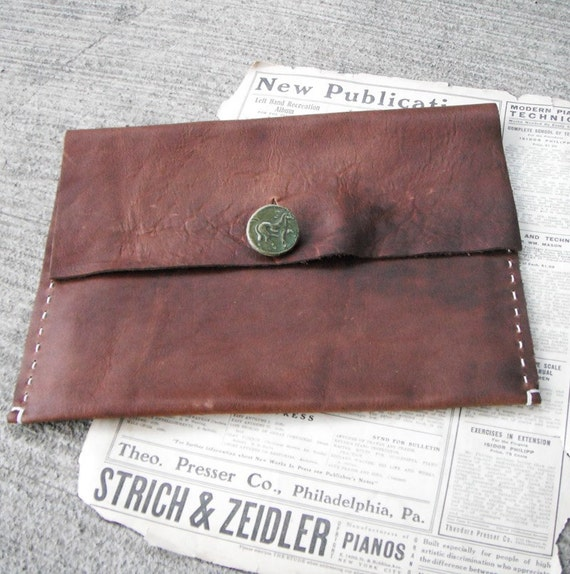 Rugged Leather Folio/Case - for Ipad, laptop, sketchbook, pencils  -  handmade laptop sleeve made from chestnut brown leather.