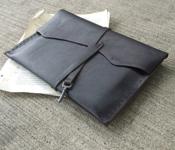 Dark Espresso Case - artist / ipad case - steampunk handmade rough leather sleeve with antique key. Great guy gift.