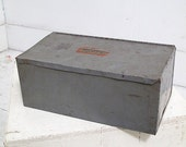 Metal Box Storage Tin Grey Industrial Decal Container Desk Accessory