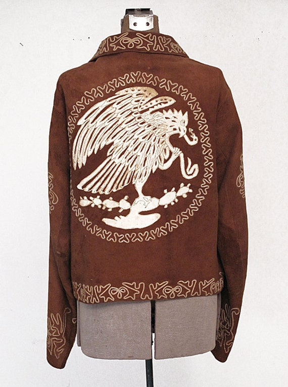Reserved for VandeGraaf until feb 21st Vintage 40s Mexican Mariachi Suede Jacket with Leather Appliques