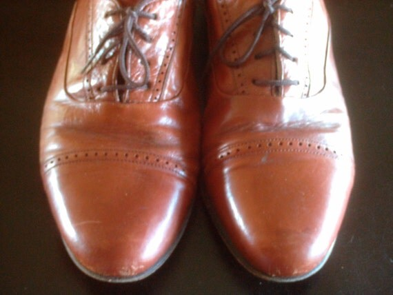 Vintage Men's Toffee Leather Oxford Dancing Shoes Size 10