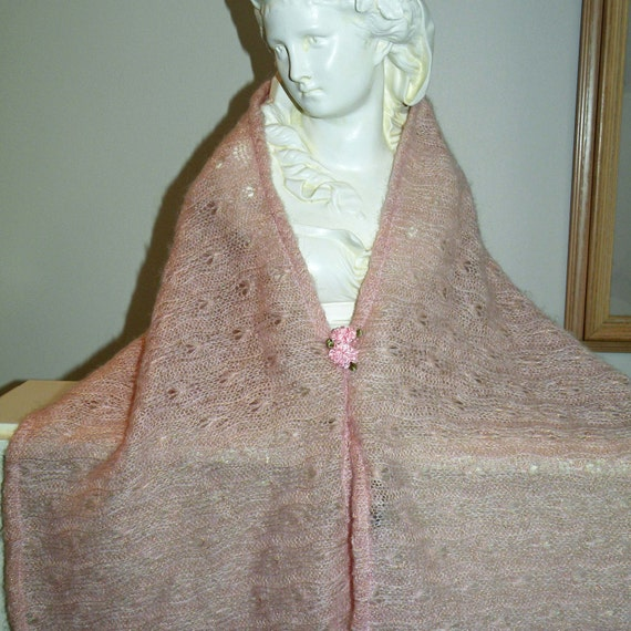 Little Girl Poncho/Cape...Pink knit with Flowers..ready to ship
