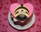 Valentine Bee Mine Cupcake Cookie Topper
