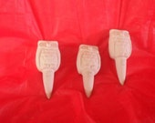 3 Owl Garden Stakes . Do it Yourself project. Ceramic Bisque. Fun Craft idea.