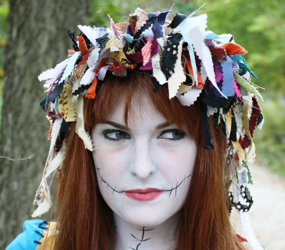 Fairy Rag Crown  (Witchy Scary Fairy)