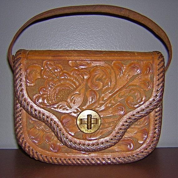 Vintage 1960s carved leather satchel / handbag / purse / clutch, turnkey closure