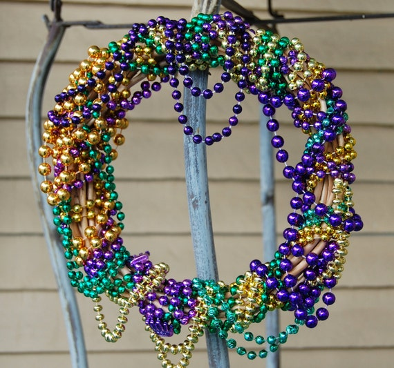 Mardi Gras Wreath Made From Authentic Purple, Gold, And Green Beads.
