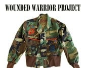 Charity Jacket Wounded Warrior Project Give to a Cause Donation  Upcycled Cropped Bomber Medium By TratGirl
