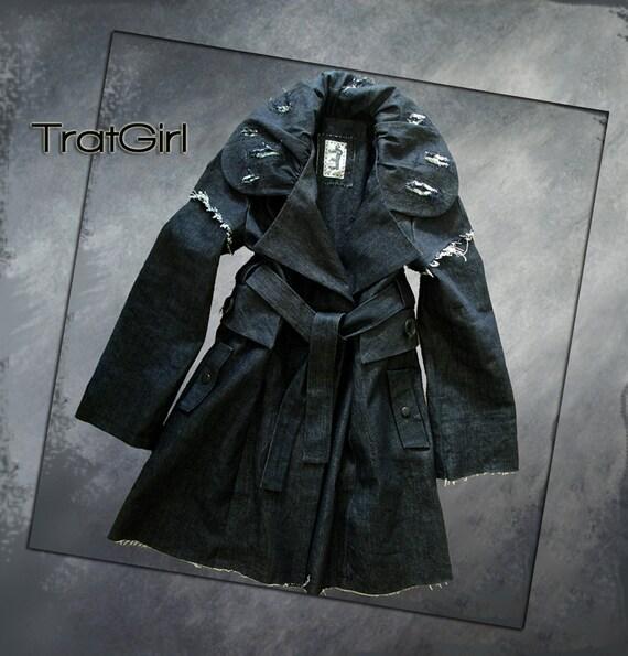 Denim jacket blue/deconstructed fringe coat/belted sash/Sample sale