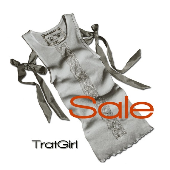 Sale Tank Top Gray Layering Piece Ties Bows Hand Dyed Lace Overlay  small Oaak By TratGirl