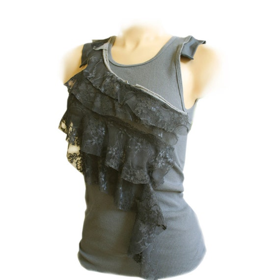 Tank Top Small Only Gray Color Blocking Lace Deconstructed By TratGirl Spring Summer