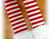 Candy Cane Faux Fur Christmas Leg Warmers Red and White Santa Stripes