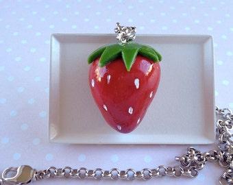 Handmade Strawberry Pendant Necklace